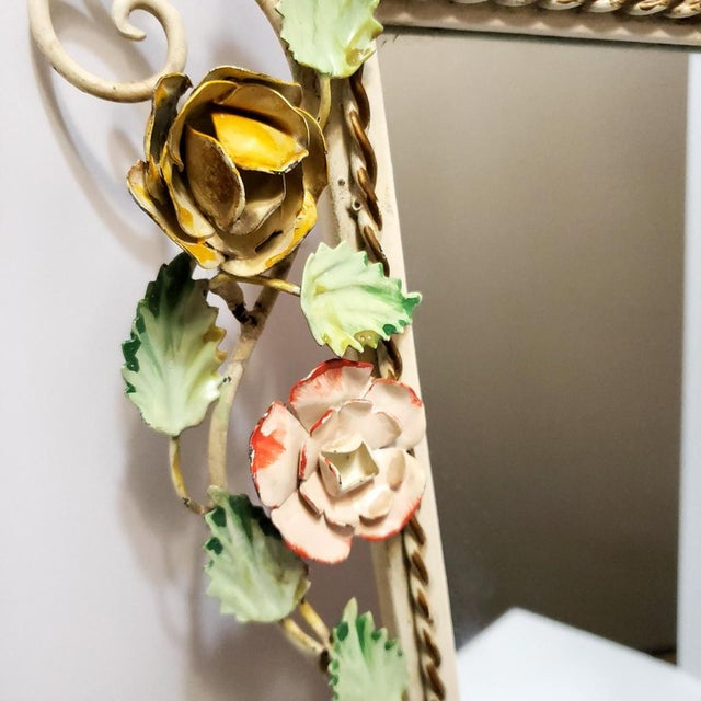 Vintage Italian Shabby Chic Floral Tole Wall Mirror For Sale - Image 6 of 10