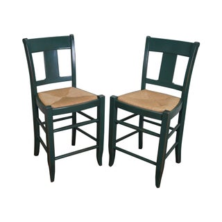 French Country Painted Rush Seat Counter Stools - A Pair For Sale