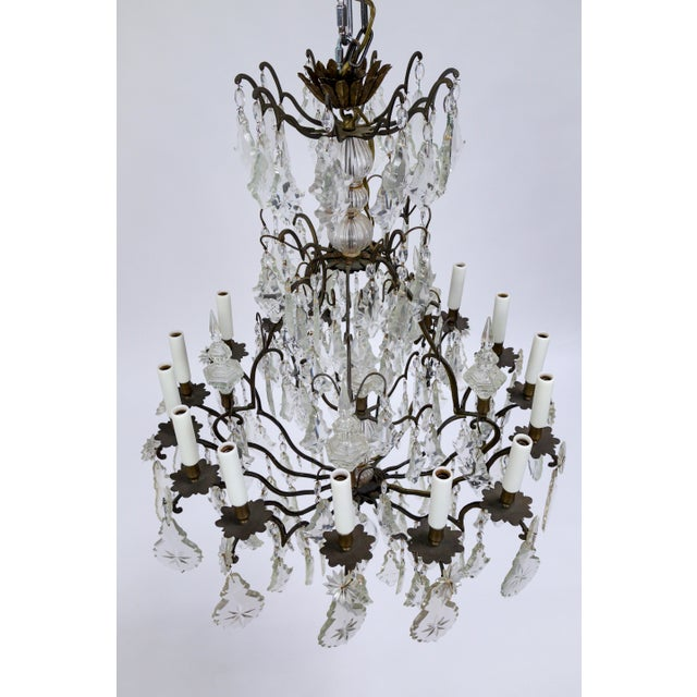 Gold Early 20th Century Multi Crystal 15-Arm Birdcage Chandelier For Sale - Image 8 of 13