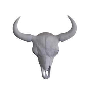 Large Yellowstone Skull Buffalo Bison Faux Taxidermy White Resin