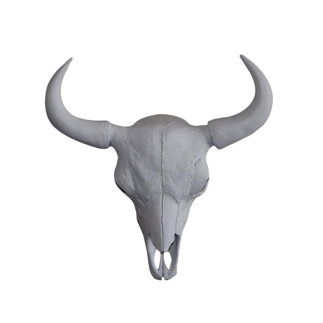 Large Yellowstone Skull Buffalo Bison Faux Taxidermy White Resin For Sale