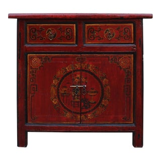 Chinese Rustic Rough Wood Distressed Red Flower Graphic Side Table Cabinet