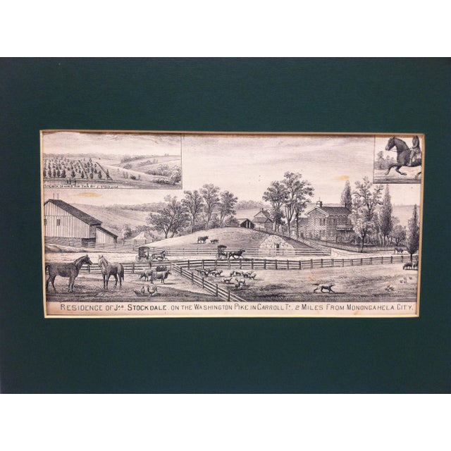 "This is a Matted Vintage Print that is titled ""Residence of Jas. Stockdale"" on the Washington Pike - In Carroll Township -..."