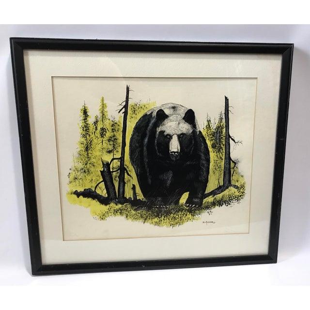 Vintage Ink & Watercolor Black Bear Painting - Image 8 of 10