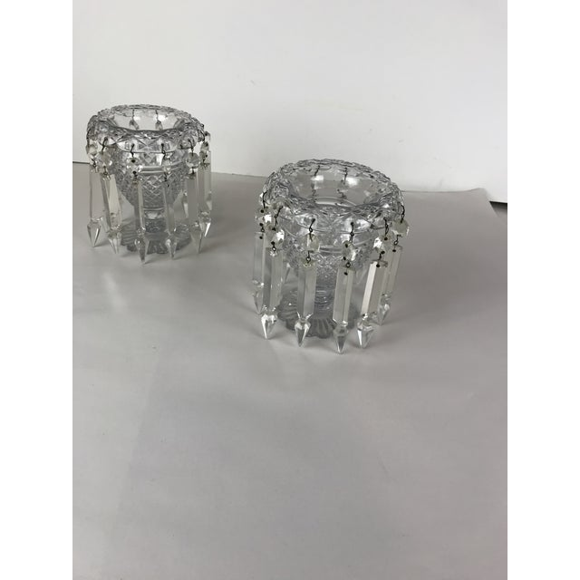 Mid 20th Century Vintage Crystal Girandoles /Luster Candle Holders - a Pair For Sale - Image 5 of 12