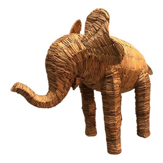 1970s Vintage Mario Lopez Torres Style Wrapped Rattan Elephant For Sale