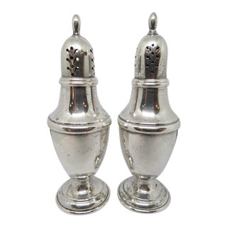 Vintage Antique Sterling Salt and Pepper Shakers, C1940 - a Pair'