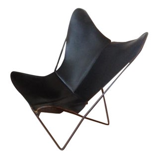 Vintage Hardoy Black Leather Butterfly Chair