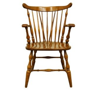 Late 20th Century O'Hearn Furniture Gardner Ma Solid Sugar Maple Dining Arm Chair For Sale