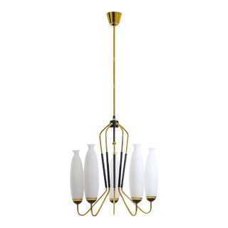 Stilnovo Brass and Satin Glass Chandelier, 1950s