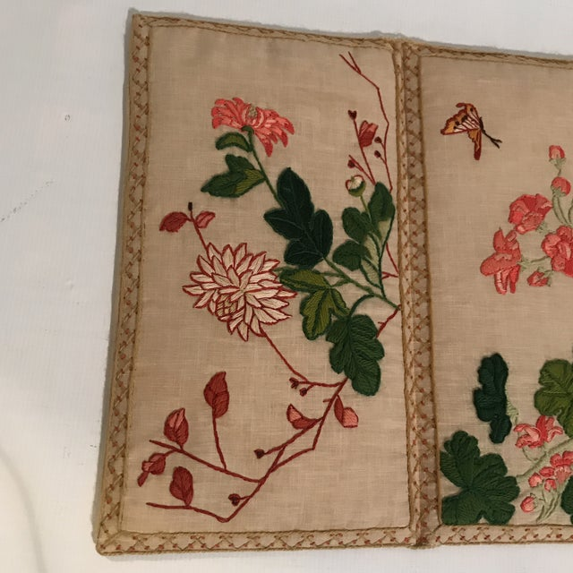 Art Nouveau Small Floral Crewelwork Screen For Sale - Image 3 of 13