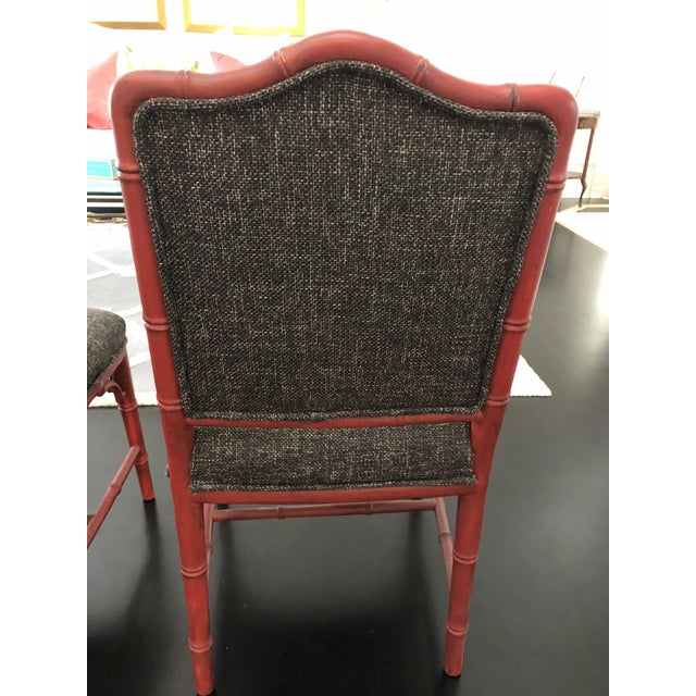 Chalk Chinoiserie Faux Bamboo Style Chairs- a Pair For Sale - Image 7 of 9