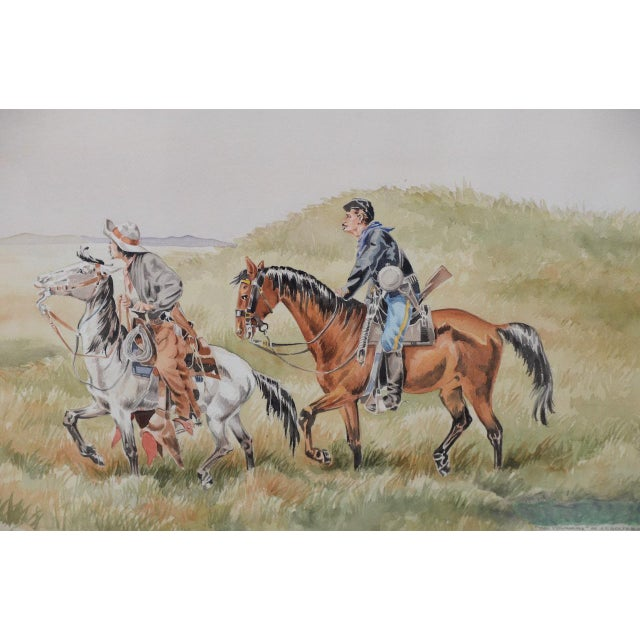 """J. Thomas Soltesz (American, b.1955) """"The Couriers"""" Original Watercolor Original watercolor of Civil War era """"couriers"""" in..."""