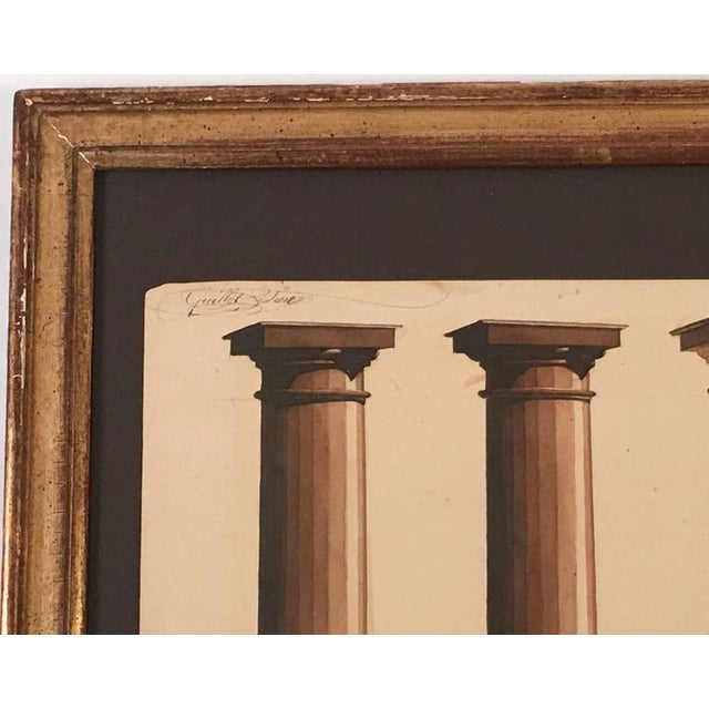 Neoclassical Neoclassical Architectural Watercolor Study of Shadows on Columns For Sale - Image 3 of 8
