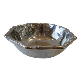 Large Mariposa Decorative Bowl With Faux Bamboo Edging For Sale