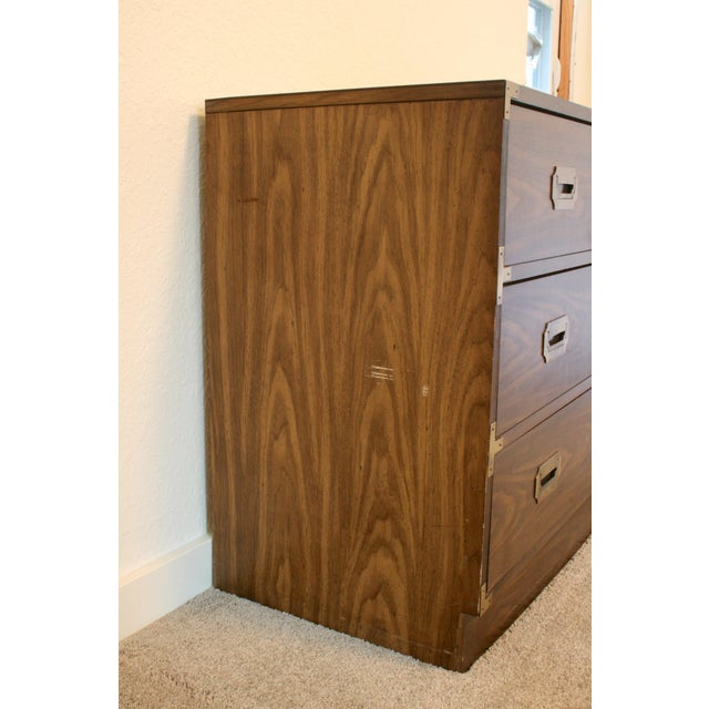Mid-Century Modern 20th Century Campaign Style 3 Drawer Dresser For Sale - Image 3 of 9