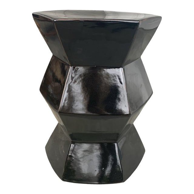 Modern Black Hexagonal Terra-Cotta Glazed Garden Stool For Sale