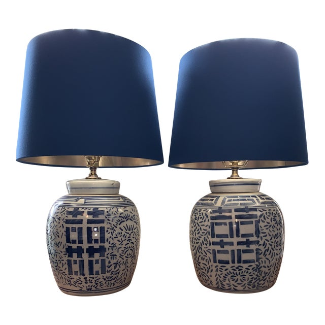 Blue & White Double Happiness Lamps - a Pair For Sale