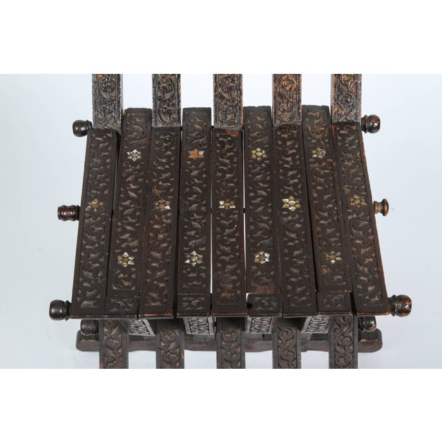 Brown 19th Century Antique Syrian Wood Inlaid Folding Chair For Sale - Image 8 of 9