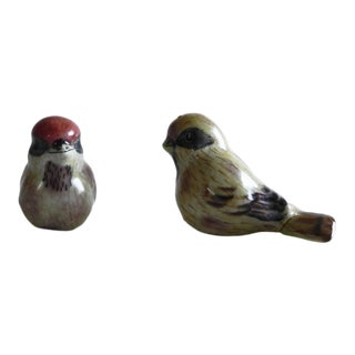 Traditional Small Ceramic Bird Figurines - a Pair For Sale
