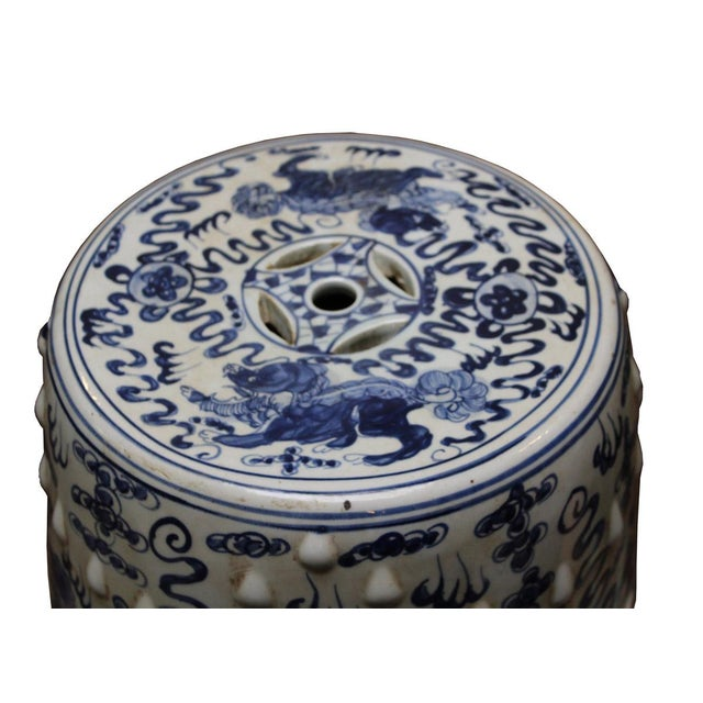 Chinese Blue & White Porcelain Foo Dogs Stool - Image 5 of 6