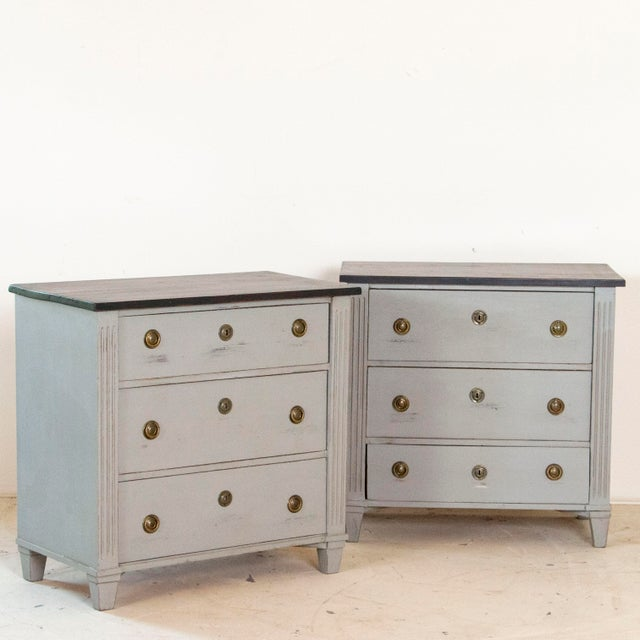 Finding a matched pair of nightstands can be challenging, which makes this pair of Gustavian style chest of drawers an...