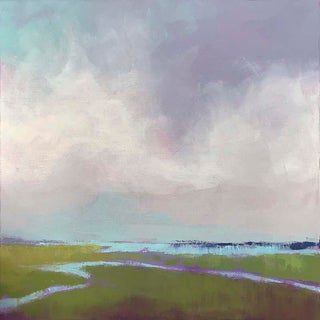 """Carrie Megan """"Purple Haze"""" Abstract Landscape Oil & Cold Wax Painting For Sale"""