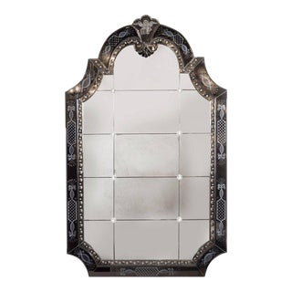 Hollywood Regency/Art Deco Reverse Etched, Beveled & Scalloped Venetian Mirror For Sale