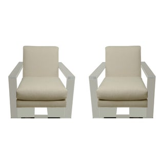 Milo Baughman Style Lucite Arm Chairs- A Pair For Sale