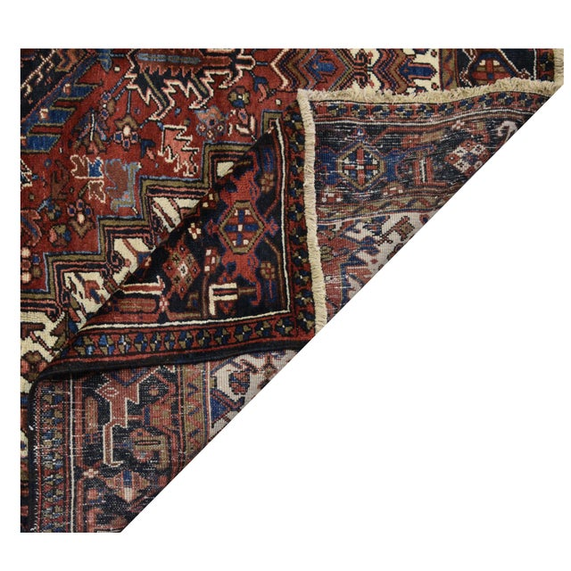 Islamic Vintage Persian Heriz Rug - 7'8''x11'2'' For Sale - Image 3 of 3