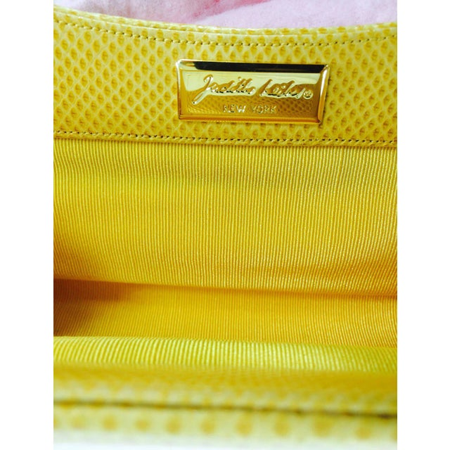 Judith Leiber Yellow Karung Structured Handle Clutch Handbag For Sale - Image 9 of 10