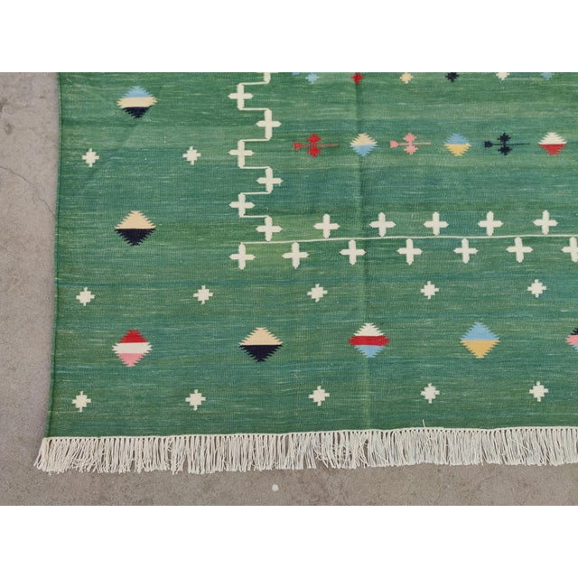 Handmade Cotton Vegetable Dyed Green Shooting Star Rug For Sale - Image 9 of 11