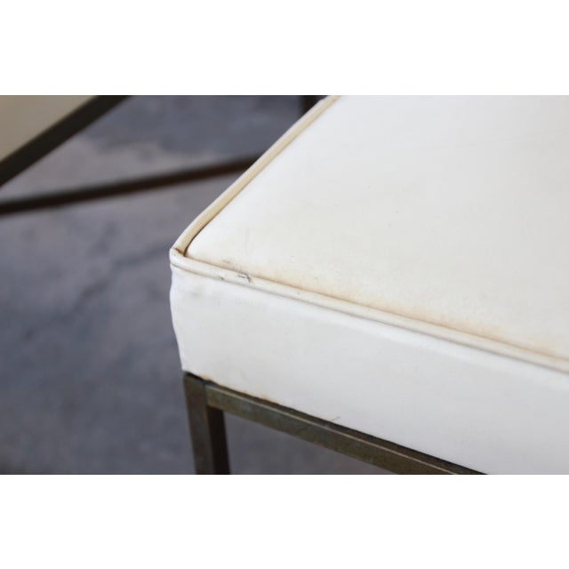 Gold Paul McCobb for Directional X-Base Brass and Upholstered Stools or Benches, Pair For Sale - Image 8 of 11