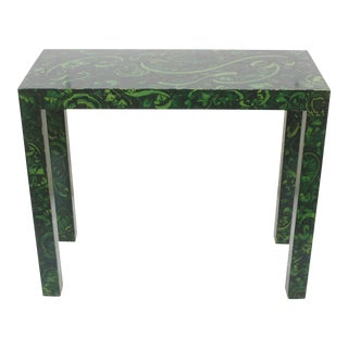 Parsons Console Table with Faux Malachite Finish / Decorative Paint For Sale