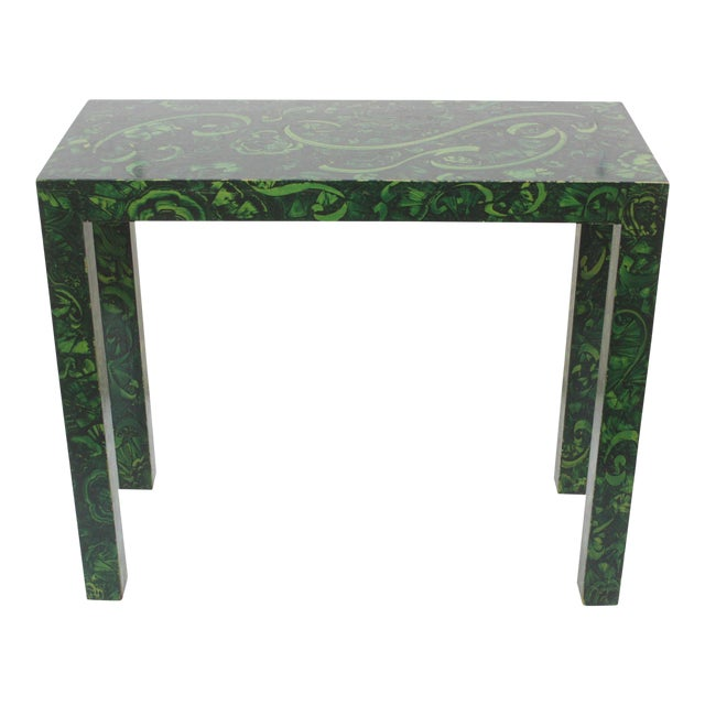 High End Parsons Console Table With Faux Malachite Finish