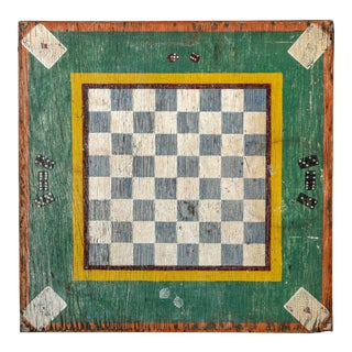 Large Early 20th Century Wooden Game Board With Original Paint For Sale