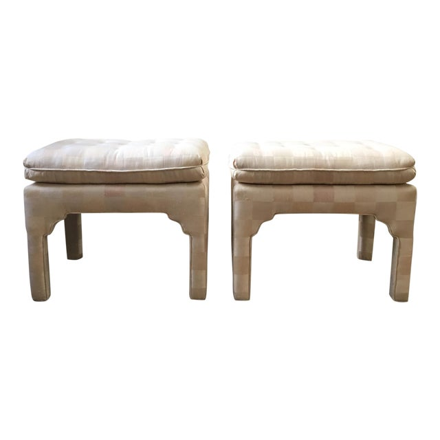 Tufted Moroccan Style Ottoman Benches - Pair For Sale