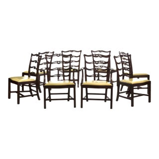 20th Century Set of Eight Chippendale Style Mahogany Dining Chairs For Sale