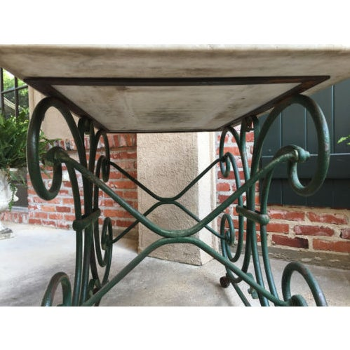 Metal 19th Century French Marble Pastry Baker's Table Art Nouveau Green Pâtisserie For Sale - Image 7 of 13