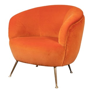 Contemporary Mid Century Modern Style Custom Cotton Velvet Dolce Chair For Sale