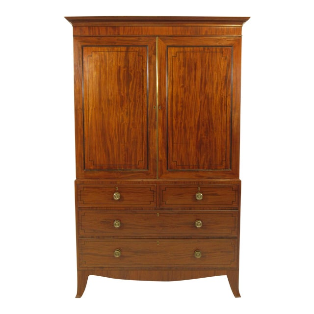 19th-C. Regency Inlaid Linen Press For Sale
