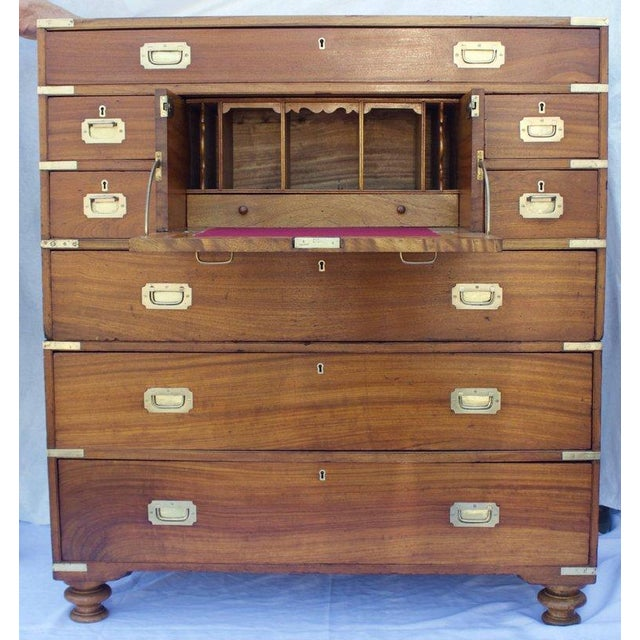 Very exceptional 19th century. British officer's campaign chest's which stack to become one chest with a desk. Brass...