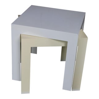Syroco White & Ivory Plastic Parsons Tables - A Pair