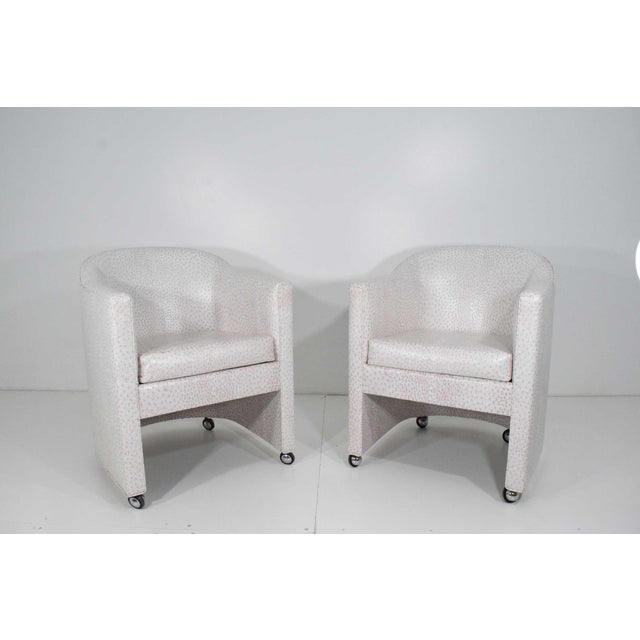 Textile Preveiw Side or Club Chairs - A Pair For Sale - Image 7 of 7