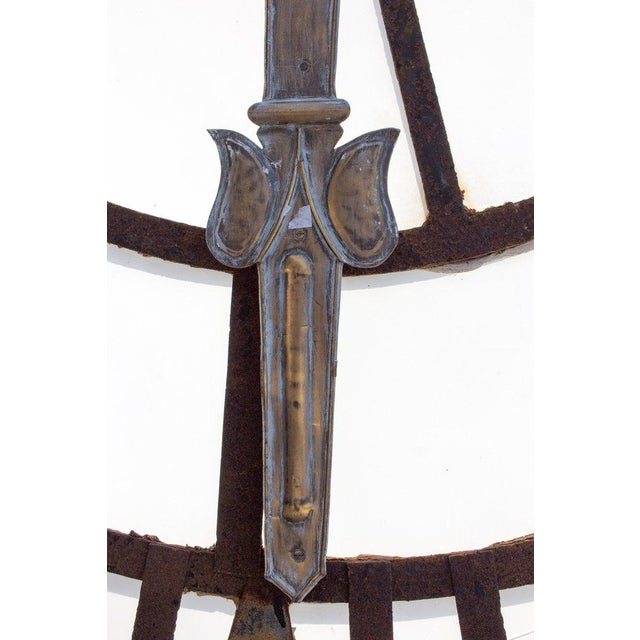 19th C. French Iron and Glass Church Clock Face - Image 6 of 11