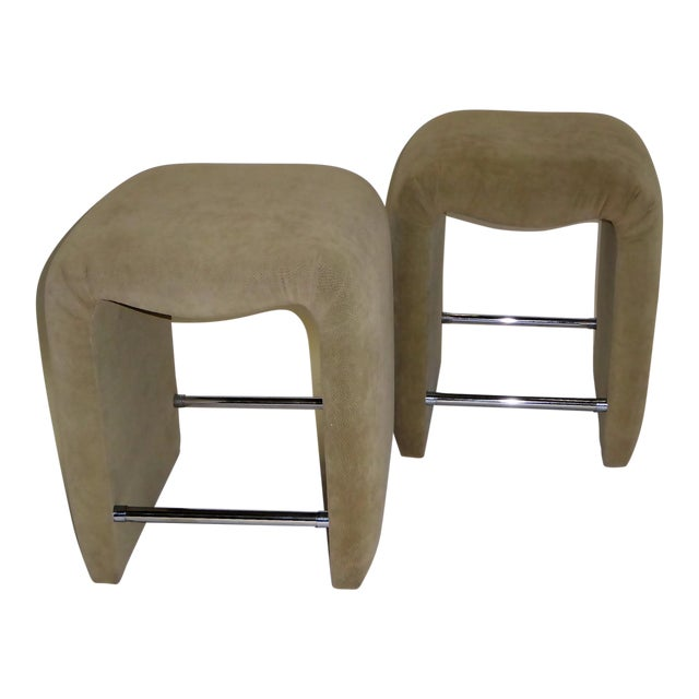 Luxurious Modern Faux Ostrich Upholstered Stools 1970s - Image 1 of 13
