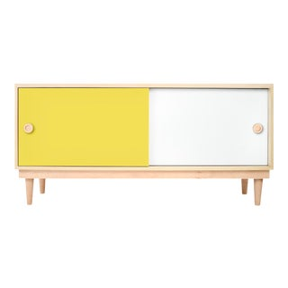 Lukka Modern Kids Credenza Console in Maple With Yellow Finish For Sale