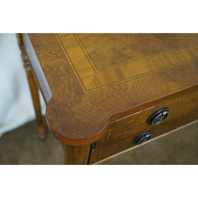Brown English Burl Walnut Sheraton Style Console Table For Sale - Image 8 of 10