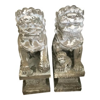 "33"" H Large Weathered Vintage Gray Taupe Asian Foo Dogs - a Pair For Sale"
