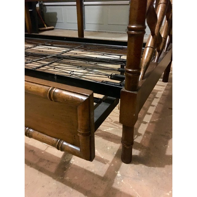 1970s Boho Chic Rollout Faux Bamboo Twin Trundle Bedframe For Sale In New York - Image 6 of 13